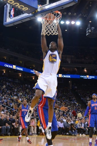 November 12, 2013; Oakland, CA, USA; Golden State Warriors small forward Harrison Barnes (40) dunks the ball against the Detroit Pistons during the third quarter at Oracle Arena. The Warriors defeated the Pistons 113-95. Mandatory Credit: Kyle Terada-USA TODAY Sports