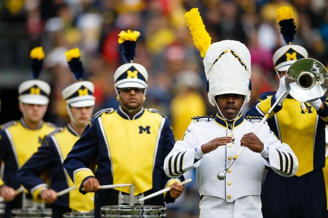 Nov 9, 2013; Ann Arbor, MI, USA; Michigan Wolverines marching band member before the game against the Nebraska Cornhuskers at Michigan Stadium. Mandatory Credit: Rick Osentoski-USA TODAY Sports