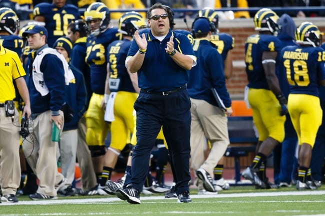 Nov 9, 2013; Ann Arbor, MI, USA; Michigan Wolverines head coach Brady Hoke during the game against the Nebraska Cornhuskers at Michigan Stadium. Mandatory Credit: Rick Osentoski-USA TODAY Sports