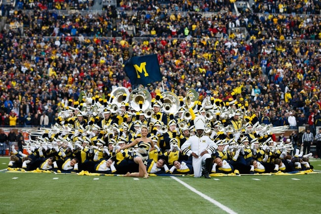 Nov 9, 2013; Ann Arbor, MI, USA; Michigan Wolverines marching band before the game against the Nebraska Cornhuskers at Michigan Stadium. Mandatory Credit: Rick Osentoski-USA TODAY Sports