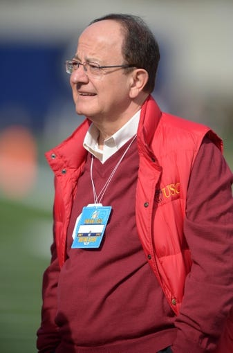 Nov 9, 2013; Berkeley, CA, USA; Southern California Trojans president C.L. Max Nikias attends the game against the California Golden Bears at Memorial Stadium. Mandatory Credit: Kirby Lee-USA TODAY Sports