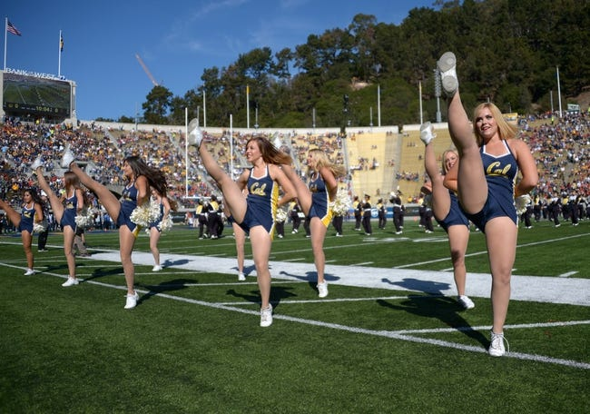 Nov 9, 2013; Berkeley, CA, USA; California Golden Bears cheerleaders perform during the game against the Southern California Trojans at Memorial Stadium. Mandatory Credit: Kirby Lee-USA TODAY Sports