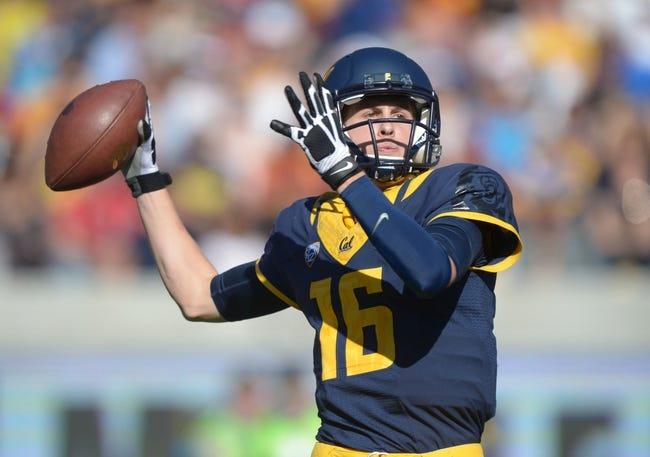 Nov 9, 2013; Berkeley, CA, USA; California Golden Bears quarterback Jared Goff (16) throws a pass against the Southern California Trojans at Memorial Stadium. Mandatory Credit: Kirby Lee-USA TODAY Sports