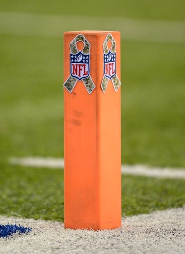 Nov 10, 2013; East Rutherford, NJ, USA; General view of a pylon with the NFL salute to service logo during the game between the Oakland Raiders and the New York Giants at MetLife Stadium. Mandatory Credit: Kirby Lee-USA TODAY Sports