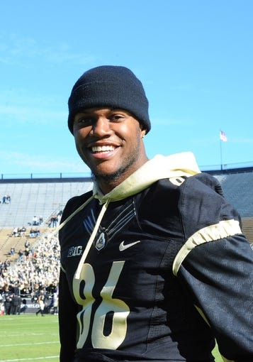 Nov 9, 2013; West Lafayette, IN, USA;  Purdue Boilermaker tight end Gabe Holmes (86) before the game with the Iowa Hawkeyes at Ross Ade Stadium. Mandatory Credit: Sandra Dukes-USA TODAY Sports
