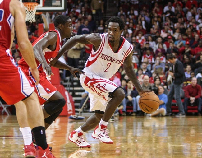 Nov 9, 2013; Houston, TX, USA; Houston Rockets point guard Patrick Beverley (2) brings the ball up the court during the second quarter against the Los Angeles Clippers at Toyota Center. Mandatory Credit: Troy Taormina-USA TODAY Sports