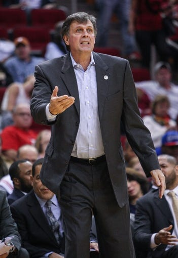 Nov 9, 2013; Houston, TX, USA; Houston Rockets head coach Kevin McHale coaches during the third quarter against the Los Angeles Clippers at Toyota Center. Mandatory Credit: Troy Taormina-USA TODAY Sports