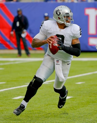 Nov 10, 2013; East Rutherford, NJ, USA;  Oakland Raiders quarterback Terrelle Pryor (2) during the first half against the New York Giants at MetLife Stadium. Mandatory Credit: Jim O'Connor-USA TODAY Sports