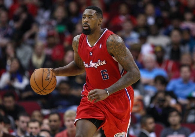 Nov 9, 2013; Houston, TX, USA; Los Angeles Clippers center DeAndre Jordan (6) brings the ball up the court during the third quarter against the Houston Rockets at Toyota Center. Mandatory Credit: Troy Taormina-USA TODAY Sports