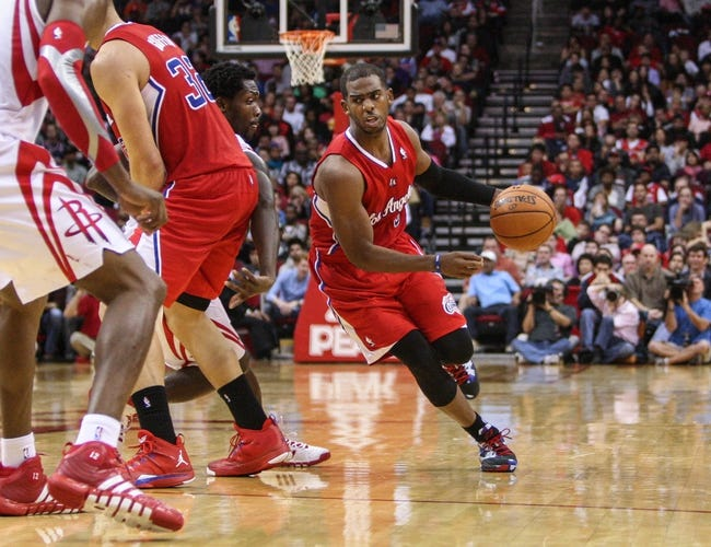 Nov 9, 2013; Houston, TX, USA; Los Angeles Clippers point guard Chris Paul (3) drives the ball during the fourth quarter against the Houston Rockets at Toyota Center. Mandatory Credit: Troy Taormina-USA TODAY Sports