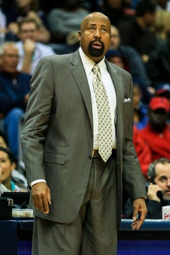 Nov 13, 2013; Atlanta, GA, USA; New York Knicks head coach Mike Woodson watches play in the first half against the Atlanta Hawks at Philips Arena. Mandatory Credit: Daniel Shirey-USA TODAY Sports