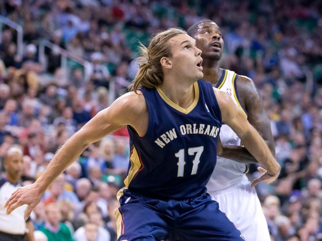 Nov 13, 2013; Salt Lake City, UT, USA; New Orleans Pelicans power forward Lou Amundson (17) boxes out Utah Jazz power forward Marvin Williams (2) during the first half at EnergySolutions Arena. Mandatory Credit: Russ Isabella-USA TODAY Sports