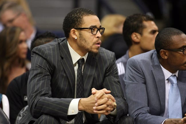 Nov 13, 2013; Denver, CO, USA;  Denver Nuggets center JaVale McGee  sits on the bench during the first half against the Los Angeles Lakers at Pepsi Center.  The Nuggets won 111-99.  Mandatory Credit: Chris Humphreys-USA TODAY Sports