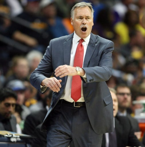 Nov 13, 2013; Denver, CO, USA;  Los Angeles Lakers head coach Mike D'Antoni during second first half against the Denver Nuggets at Pepsi Center.  The Nuggets won 111-99.  Mandatory Credit: Chris Humphreys-USA TODAY Sports