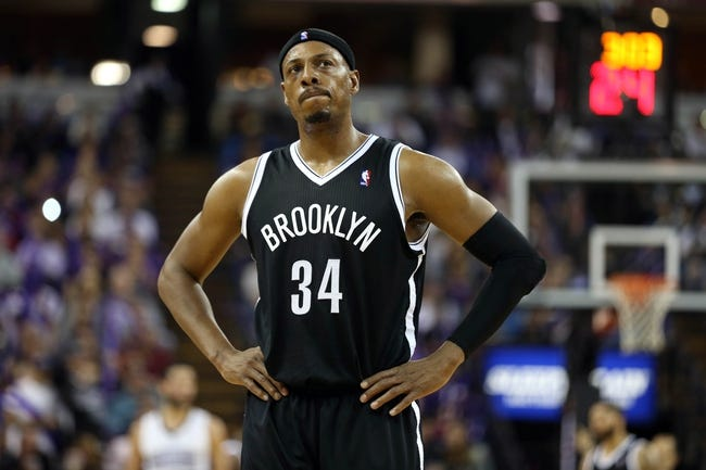 Nov 13, 2013; Sacramento, CA, USA; Brooklyn Nets small forward Paul Pierce (34) between plays against the Sacramento Kings during the third quarter at Sleep Train Arena. The Sacramento Kings defeated the Brooklyn Nets 107-86. Mandatory Credit: Kelley L Cox-USA TODAY Sports