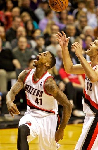 Nov 13, 2013; Portland, OR, USA; Portland Trail Blazers power forward Thomas Robinson (41) reacts after making a basket against the Phoenix Suns at the Moda Center. Mandatory Credit: Craig Mitchelldyer-USA TODAY Sports