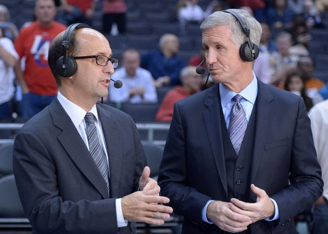 Nov 13, 2013; Los Angeles, CA, USA; ESPN broadcasters Jeff Van Gundy (left) and Mike Breen during the NBA game between the Oklahoma City Thunder and Los Angeles Clippers Center. Mandatory Credit: Kirby Lee-USA TODAY Sports