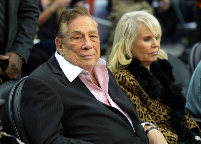 Nov 13, 2013; Los Angeles, CA, USA; Los Angeles Clippers owner Donald Sterling (left) and wife Shelly Sterling attend the game against the Oklahoma City Thunder at Staples Center. The Clippers defeated the Thunder 111-103. Mandatory Credit: Kirby Lee-USA TODAY Sports