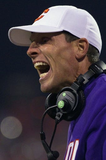 Nov 14, 2013; Clemson, SC, USA; Clemson Tigers defensive coordinator Brent Venables reacts during the first quarter against the Georgia Tech Yellow Jackets at Clemson Memorial Stadium. Mandatory Credit: Joshua S. Kelly-USA TODAY Sports