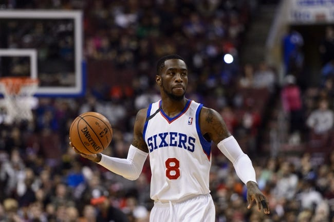 Nov 11, 2013; Philadelphia, PA, USA; Philadelphia 76ers guard Tony Wroten (8) during the first quarter against the San Antonio Spurs at Wells Fargo Center. The Spurs defeated the Sixers 109-85. Mandatory Credit: Howard Smith-USA TODAY Sports