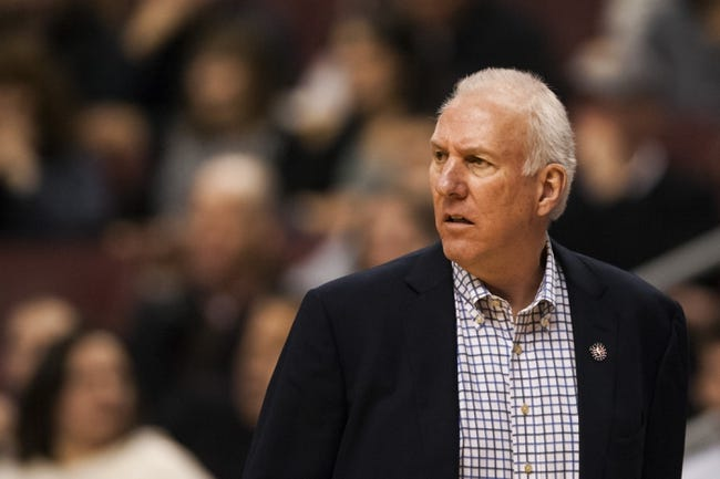 Nov 11, 2013; Philadelphia, PA, USA; San Antonio Spurs head coach Gregg Popovich during the first quarter against the Philadelphia 76ers at Wells Fargo Center. The Spurs defeated the Sixers 109-85. Mandatory Credit: Howard Smith-USA TODAY Sports