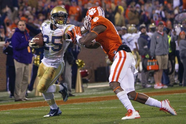 Nov 14, 2013; Clemson, SC, USA; Georgia Tech Yellow Jackets running back Robert Godhigh (25) carries the ball in for a touchdown during the second quarter against the Clemson Tigers at Clemson Memorial Stadium. Clemson won 55-24. Mandatory Credit: Joshua S. Kelly-USA TODAY Sports