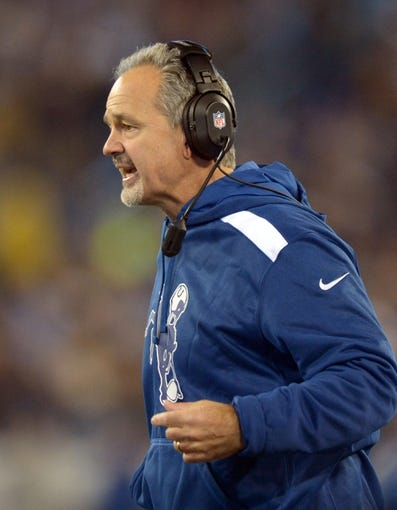 Nov 14, 2013; Nashville, TN, USA; Indianapolis Colts coach Chuck Pagano reacts during the game against the Tennessee Titans at LP Field. The Colts defeated the Titans 30-27. Mandatory Credit: Kirby Lee-USA TODAY Sports
