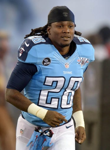 Nov 14, 2013; Nashville, TN, USA; Tennessee Titans running back Chris Johnson (28) during the game against the Indianapolis Colts at LP Field. The Colts defeated the Titans 30-27. Mandatory Credit: Kirby Lee-USA TODAY Sports