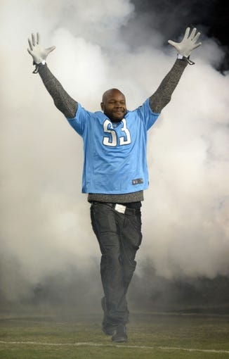 Nov 14, 2013; Nashville, TN, USA; (Editors note: Caption correction) Tennessee Titans former linebacker Keith Bullock is recognized before the game against the Indianapolis Colts at LP Field. Mandatory Credit: Kirby Lee-USA TODAY Sports