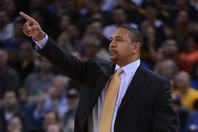 November 14, 2013; Oakland, CA, USA; Golden State Warriors head coach Mark Jackson instructs against the Oklahoma City Thunder during the second quarter at Oracle Arena. The Warriors defeated the Thunder 116-115. Mandatory Credit: Kyle Terada-USA TODAY Sports