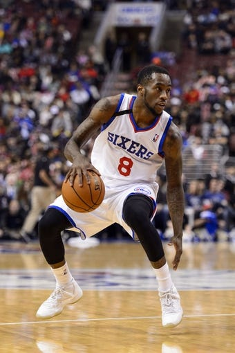 Nov 13, 2013; Philadelphia, PA, USA; Philadelphia 76ers guard Tony Wroten (8) during the third quarter against the Houston Rockets at Wells Fargo Center. The Sixers defeated the Rockets 123-117. Mandatory Credit: Howard Smith-USA TODAY Sports