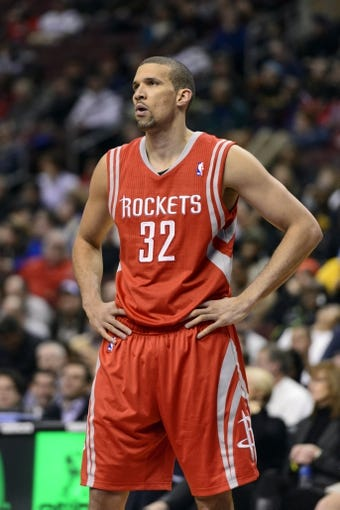 Nov 13, 2013; Philadelphia, PA, USA; Houston Rockets guard Francisco Garcia (32) during the third quarter against the Philadelphia 76ers at Wells Fargo Center. The Sixers defeated the Rockets 123-117. Mandatory Credit: Howard Smith-USA TODAY Sports
