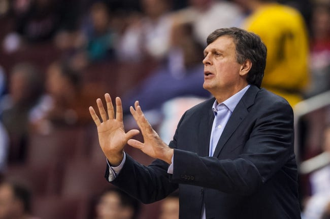 Nov 13, 2013; Philadelphia, PA, USA; Houston Rockets head coach Kevin McHale during the third quarter against the Philadelphia 76ers at Wells Fargo Center. The Sixers defeated the Rockets 123-117. Mandatory Credit: Howard Smith-USA TODAY Sports