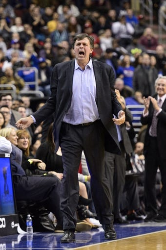 Nov 13, 2013; Philadelphia, PA, USA; Houston Rockets head coach Kevin McHale during overtime against the Philadelphia 76ers at Wells Fargo Center. The Sixers defeated the Rockets 123-117. Mandatory Credit: Howard Smith-USA TODAY Sports