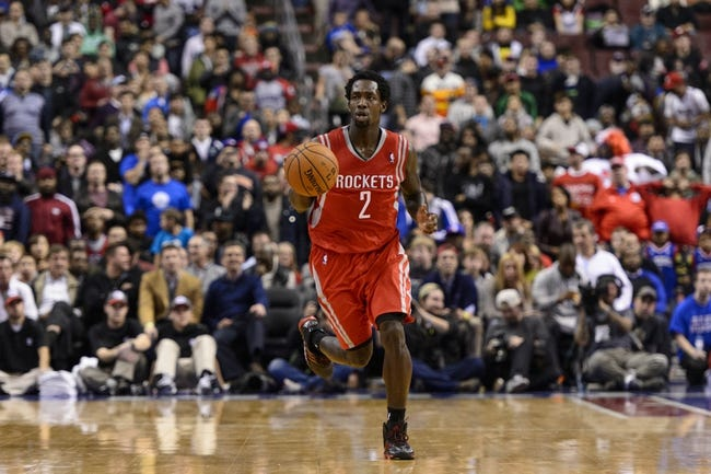 Nov 13, 2013; Philadelphia, PA, USA; Houston Rockets guard Patrick Beverley (2) brings the ball up court during the fourth quarter against the Philadelphia 76ers at Wells Fargo Center. The Sixers defeated the Rockets 123-117. Mandatory Credit: Howard Smith-USA TODAY Sports