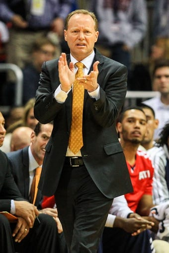 Nov 15, 2013; Atlanta, GA, USA; Atlanta Hawks head coach Mike Budenholzer reacts to a play in the first quarter against the Atlanta Hawks at Philips Arena. Mandatory Credit: Daniel Shirey-USA TODAY Sports
