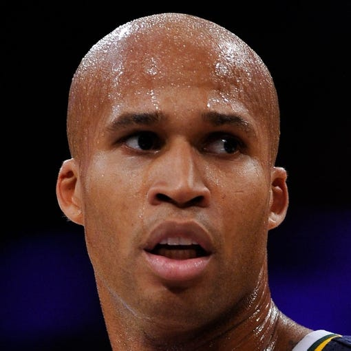 Oct 22, 2013; Los Angeles, CA, USA;  Utah Jazz small forward Richard Jefferson (24) during the Jazz' pre-season game against the Los Angeles Lakers at Staples Center. Mandatory Credit: Robert Hanashiro-USA TODAY Sports
