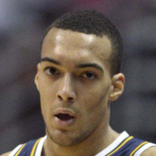 Oct 25, 2013; Anaheim, CA, USA; Utah Jazz center Rudy Gobert (27) during the game against the Los Angeles Lakers during the first quarter at Honda Center. Mandatory Credit: Kelvin Kuo-USA TODAY Sports