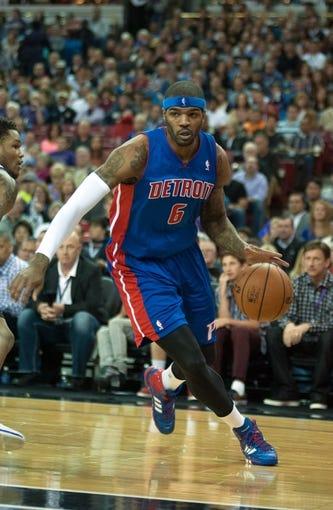 Nov 15, 2013; Sacramento, CA, USA; Detroit Pistons small forward Josh Smith (6) drives to the basket against the Sacramento Kings during the second quarter at Sleep Train Arena. Mandatory Credit: Ed Szczepanski-USA TODAY Sports