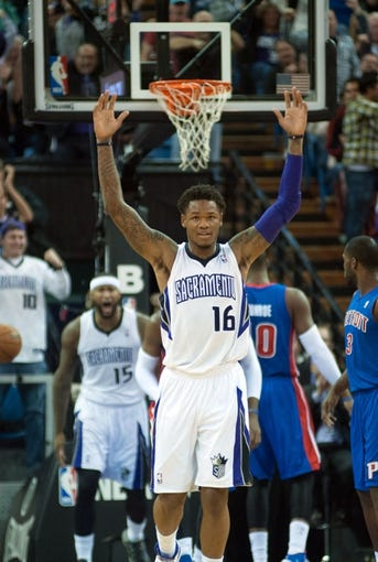 Nov 15, 2013; Sacramento, CA, USA; Sacramento Kings shooting guard Ben McLemore (16) reacts after center DeMarcus Cousins (15) dunked the ball against the Detroit Pistons during the second quarter at Sleep Train Arena. Mandatory Credit: Ed Szczepanski-USA TODAY Sports