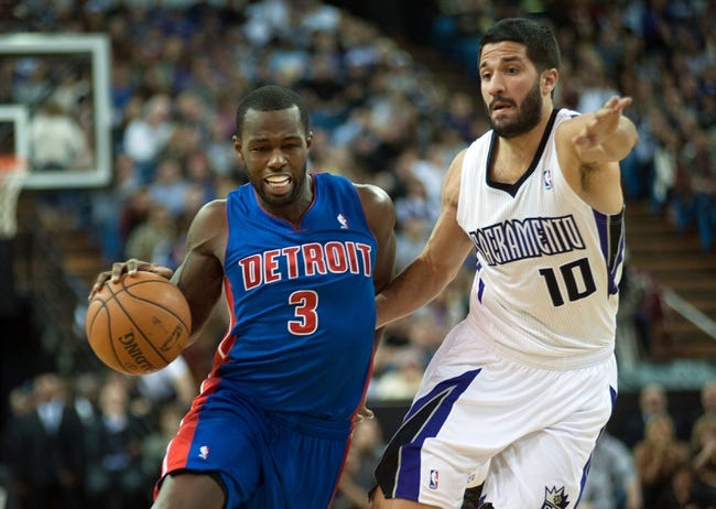 Nov 15, 2013; Sacramento, CA, USA; Detroit Pistons shooting guard Rodney Stuckey (3) drives to the basket past Sacramento Kings point guard Greivis Vasquez (10) during the second quarter at Sleep Train Arena. Mandatory Credit: Ed Szczepanski-USA TODAY Sports