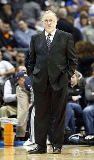 Nov 15, 2013; Denver, CO, USA; Minnesota Timberwolves head coach Rick Adelman in the second quarter against the Denver Nuggets at the Pepsi Center. The Nuggets won 117-113. Mandatory Credit: Isaiah J. Downing-USA TODAY Sports