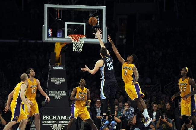 Nov 15, 2013; Los Angeles, CA, USA; Memphis Grizzlies center Marc Gasol (33) attempts a shot defended by Los Angeles Lakers guard Nick Young (0) during the third quarter at Staples Center. The Memphis Grizzlies defeated the Los Angeles Lakers 89-86. Mandatory Credit: Kelvin Kuo-USA TODAY Sports