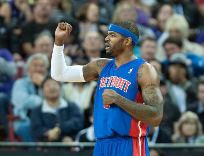 Nov 15, 2013; Sacramento, CA, USA; Detroit Pistons small forward Josh Smith (6) pumps his fist after scoring against the Sacramento Kings during the fourth quarter at Sleep Train Arena. The Detroit Pistons defeated the Sacramento Kings 97-90. Mandatory Credit: Ed Szczepanski-USA TODAY Sports