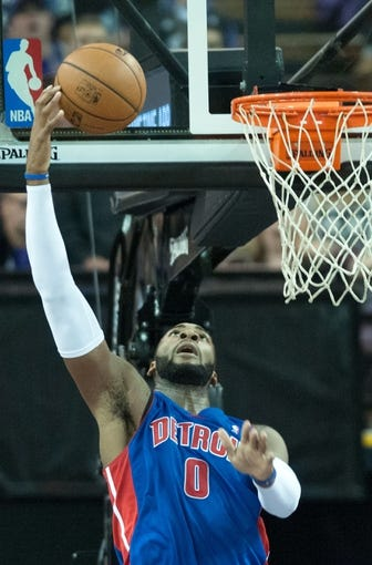 Nov 15, 2013; Sacramento, CA, USA; Detroit Pistons center Andre Drummond (0) tips the ball into the basket during the fourth quarter of the game against the Sacramento Kings at Sleep Train Arena. The Detroit Pistons defeated the Sacramento Kings 97-90. Mandatory Credit: Ed Szczepanski-USA TODAY Sports