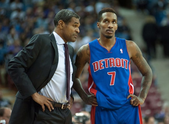 Nov 15, 2013; Sacramento, CA, USA; Detroit Pistons head coach Maurice Cheeks and point guard Brandon Jennings (7) chat during a free throw in the fourth quarter of the game against the Sacramento Kings at Sleep Train Arena. The Detroit Pistons defeated the Sacramento Kings 97-90 Mandatory Credit: Ed Szczepanski-USA TODAY Sports