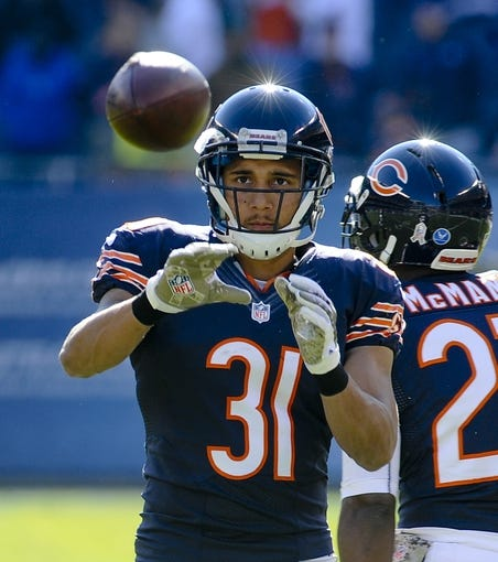 Nov 10, 2013; Chicago, IL, USA;  Chicago Bears cornerback Isaiah Frey (31) before the game against the Lions at Soldier Field. Mandatory Credit: Matt Marton-USA TODAY Sports