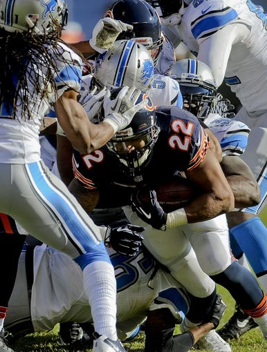 Nov 10, 2013; Chicago, IL, USA;  Chicago Bears running back Matt Forte (22) during the game against the Lions at Soldier Field. Mandatory Credit: Matt Marton-USA TODAY Sports