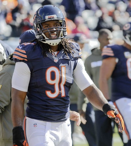 Nov 10, 2013; Chicago, IL, USA;  Chicago Bears defensive end David Bass (91) before the game against the Lions at Soldier Field. Mandatory Credit: Matt Marton-USA TODAY Sports