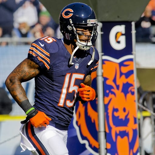 Nov 10, 2013; Chicago, IL, USA;  Chicago Bears wide receiver Brandon Marshall (15) before the game against the Lions at Soldier Field. Mandatory Credit: Matt Marton-USA TODAY Sports